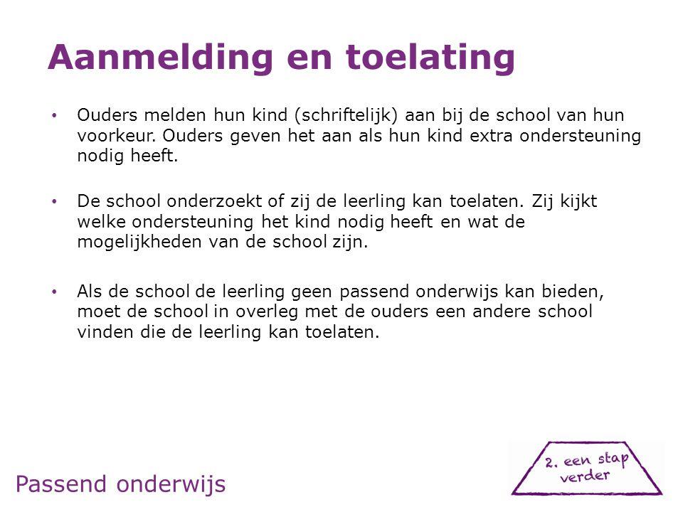 Passend onderwijs • Ouders melden hun kind (schriftelijk) aan bij de school van hun voorkeur. Ouders geven het aan als hun kind extra ondersteuning no