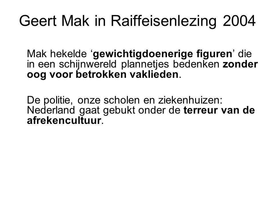 Geert Mak in Raiffeisenlezing 2004 Mak hekelde 'gewichtigdoenerige figuren' die in een schijnwereld plannetjes bedenken zonder oog voor betrokken vakl