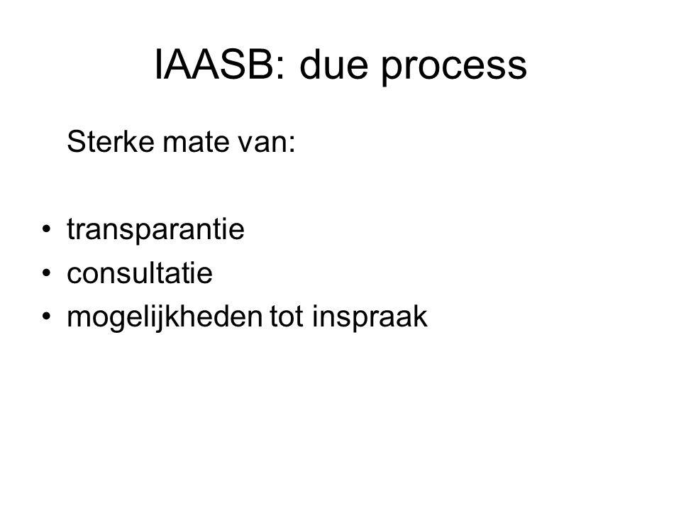 IAASB: due process Sterke mate van: •transparantie •consultatie •mogelijkheden tot inspraak