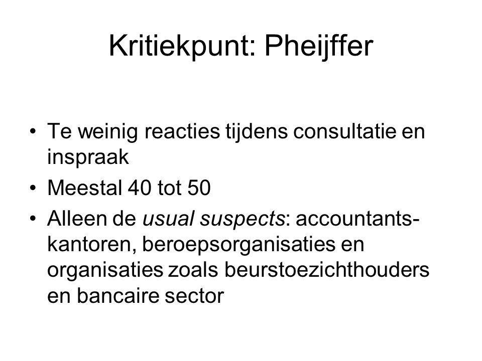 Kritiekpunt: Pheijffer •Te weinig reacties tijdens consultatie en inspraak •Meestal 40 tot 50 •Alleen de usual suspects: accountants- kantoren, beroep