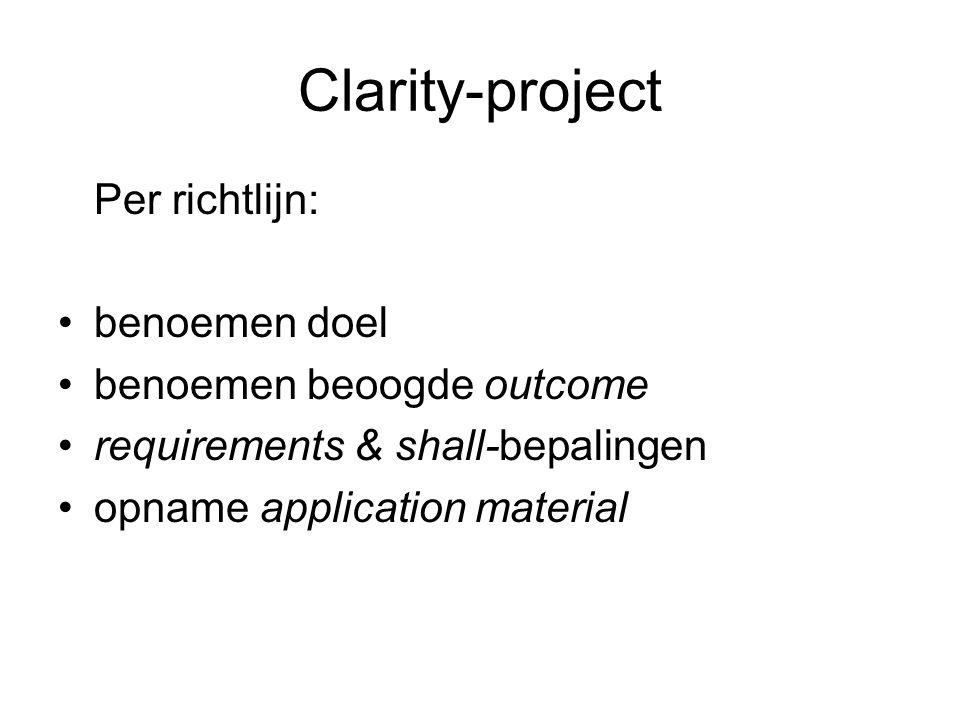 Clarity-project Per richtlijn: •benoemen doel •benoemen beoogde outcome •requirements & shall-bepalingen •opname application material