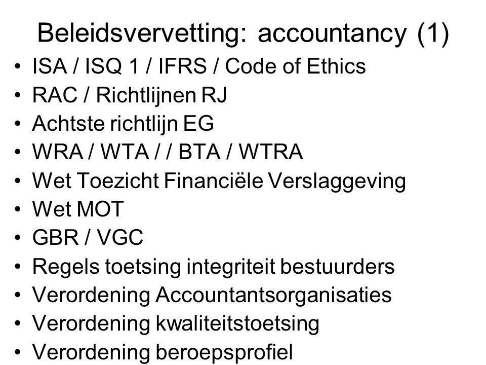 Beleidsvervetting: accountancy (1) •ISA / ISQ 1 / IFRS / Code of Ethics •RAC / Richtlijnen RJ •Achtste richtlijn EG •WRA / WTA / / BTA / WTRA •Wet Toe