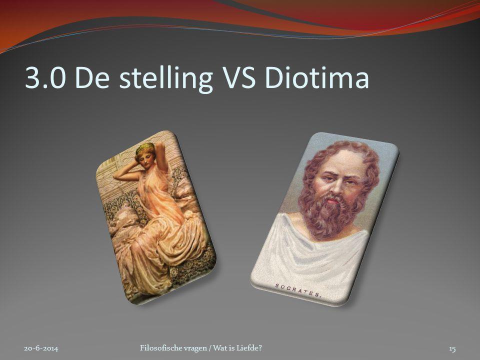 3.0 De stelling VS Diotima 20-6-2014Filosofische vragen / Wat is Liefde?15