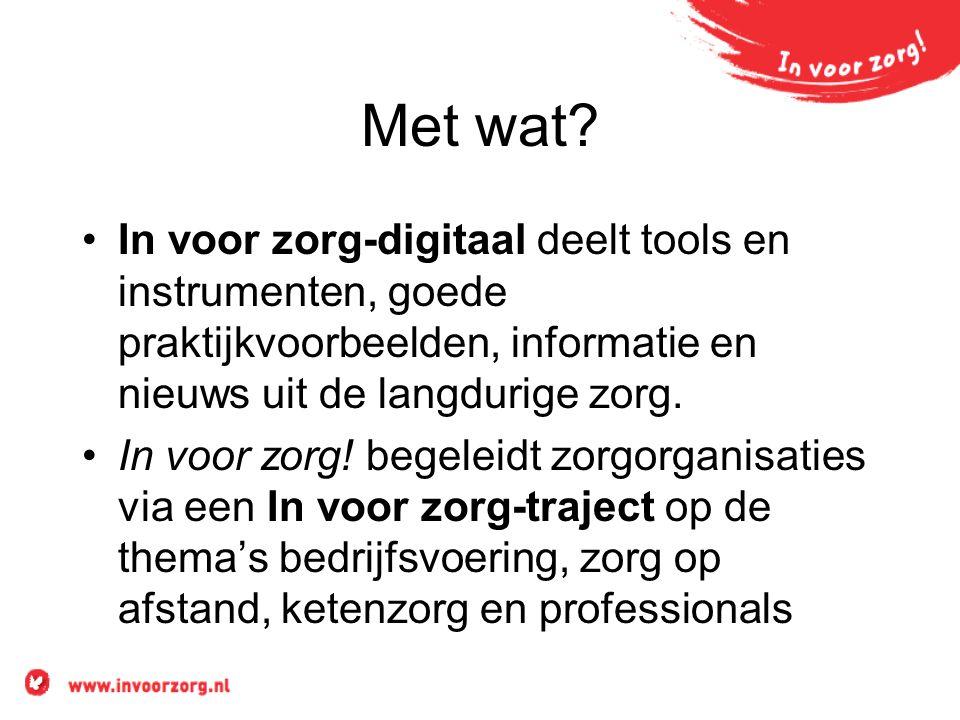 In voor zorg-digitaal •www.invoorzorg.nlwww.invoorzorg.nl •www.invoorzorg.netwww.invoorzorg.net •LinkedIn-group In voor zorg •Twitter @Invoorzorg •Slideshare •Youtube •Facebook