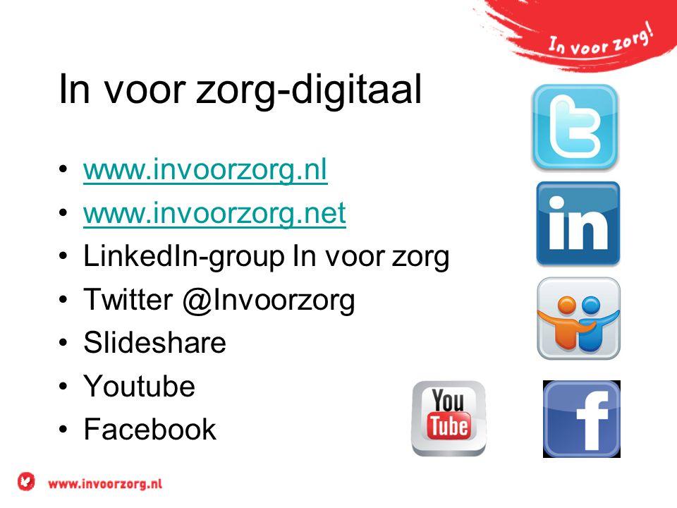 In voor zorg-digitaal •www.invoorzorg.nlwww.invoorzorg.nl •www.invoorzorg.netwww.invoorzorg.net •LinkedIn-group In voor zorg •Twitter @Invoorzorg •Sli