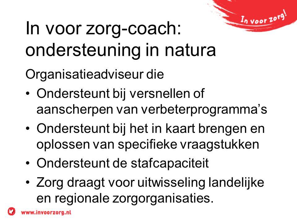 In voor zorg-coach: ondersteuning in natura Organisatieadviseur die •Ondersteunt bij versnellen of aanscherpen van verbeterprogramma's •Ondersteunt bi
