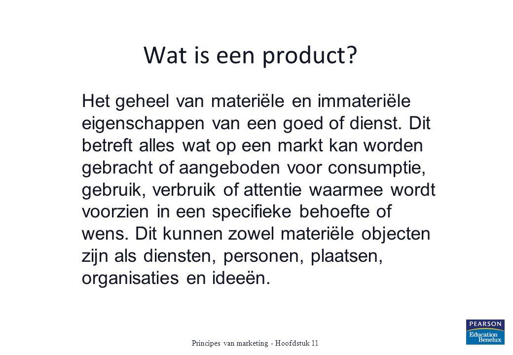 Wat is een product? Het geheel van materiële en immateriële eigenschappen van een goed of dienst. Dit betreft alles wat op een markt kan worden gebrac