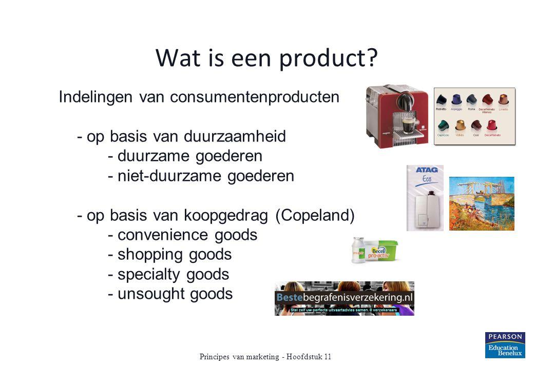 Wat is een product? Indelingen van consumentenproducten - op basis van duurzaamheid - duurzame goederen - niet-duurzame goederen - op basis van koopge
