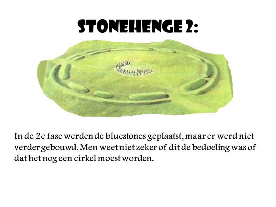 Stonehenge 2: In de 2e fase werden de bluestones geplaatst, maar er werd niet verder gebouwd.