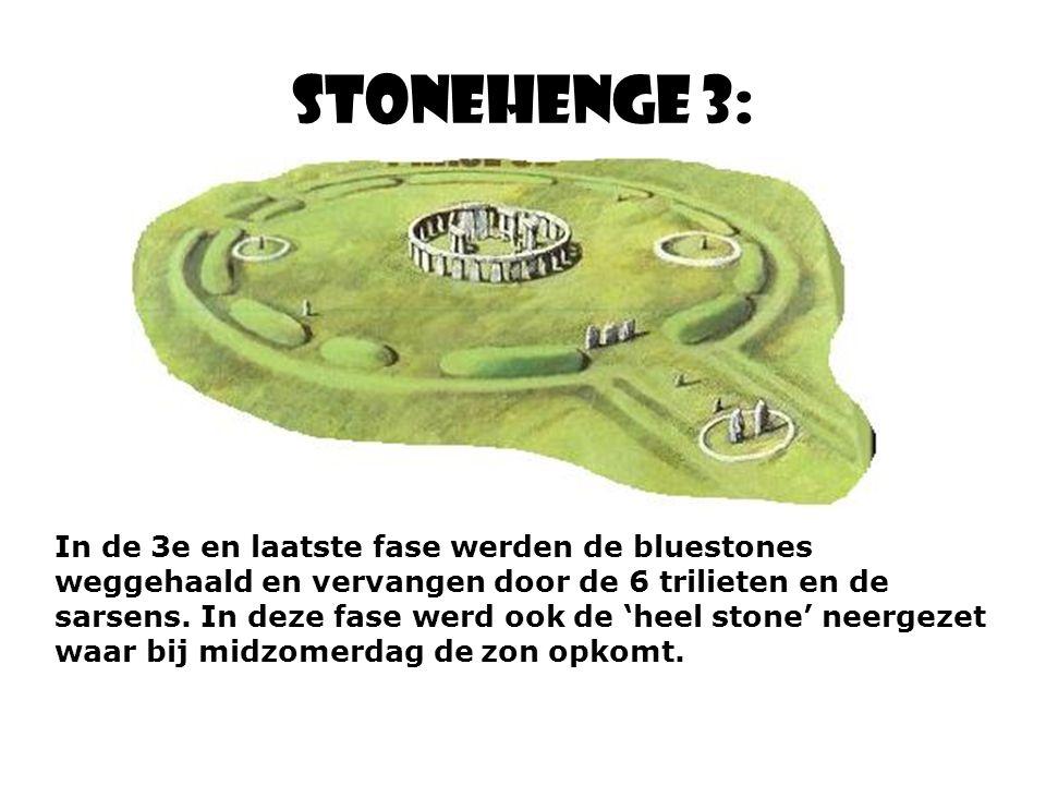 Stonehenge 3: In de 3e en laatste fase werden de bluestones weggehaald en vervangen door de 6 trilieten en de sarsens.