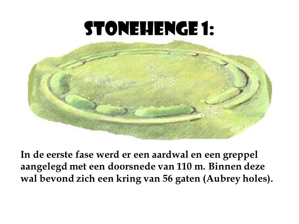 Stonehenge 1: In de eerste fase werd er een aardwal en een greppel aangelegd met een doorsnede van 110 m.