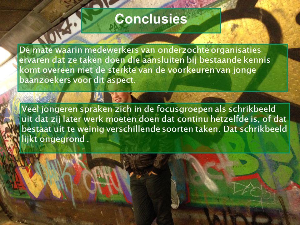 Kom verder. Saxion. Conclusies De mate waarin medewerkers van onderzochte organisaties ervaren dat ze taken doen die aansluiten bij bestaande kennis k