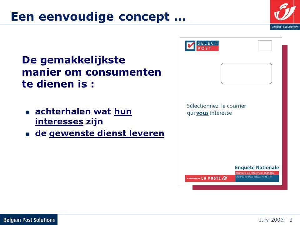 July 2006 - 3 Een eenvoudige concept … De gemakkelijkste manier om consumenten te dienen is : achterhalen wat hun interesses zijn de gewenste dienst leveren