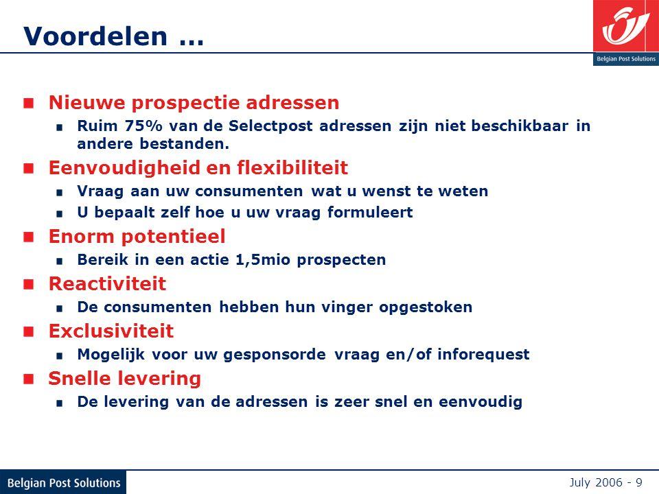 July 2006 - 9 Voordelen … Nieuwe prospectie adressen Ruim 75% van de Selectpost adressen zijn niet beschikbaar in andere bestanden.