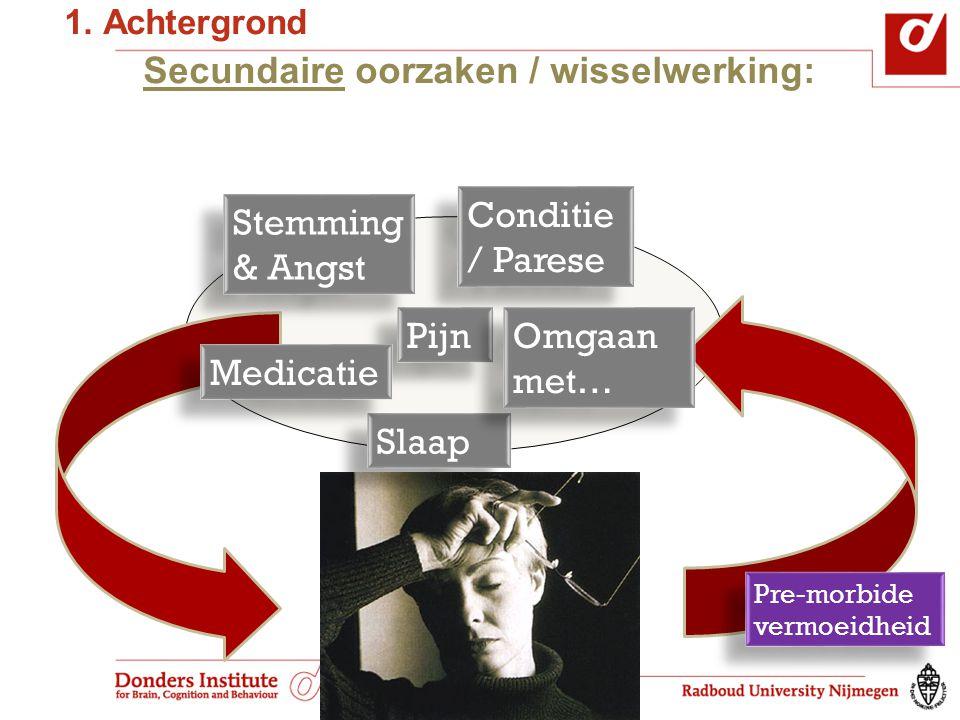 Secundaire oorzaken / wisselwerking: Conditie / Parese Slaap Pijn Stemming & Angst Stemming & Angst Medicatie Omgaan met… Pre-morbide vermoeidheid 1.