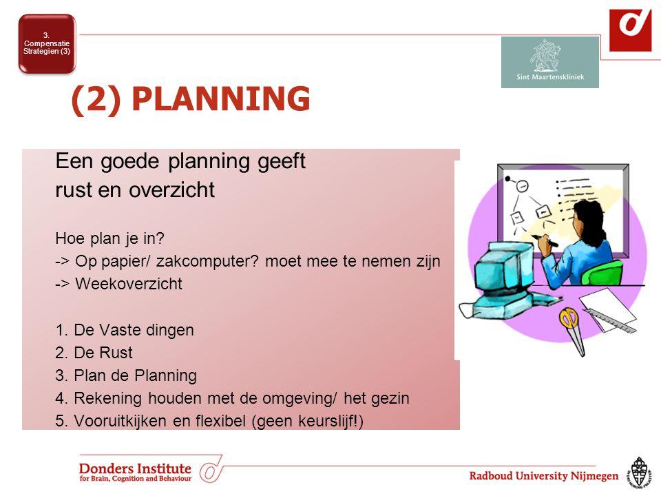 (2) PLANNING Een goede planning geeft rust en overzicht Hoe plan je in.