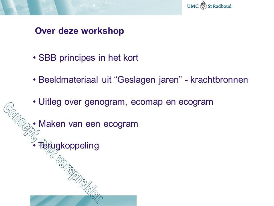 Over deze workshop • SBB principes in het kort • Beeldmateriaal uit Geslagen jaren - krachtbronnen • Uitleg over genogram, ecomap en ecogram • Maken van een ecogram • Terugkoppeling