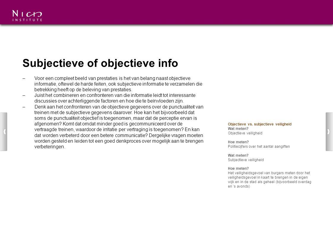 Subjectieve of objectieve info –Voor een compleet beeld van prestaties is het van belang naast objectieve informatie, oftewel de harde feiten, ook sub
