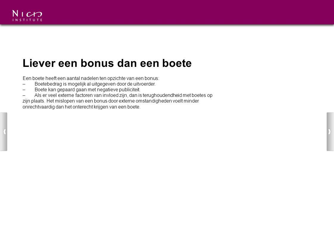 Liever een bonus dan een boete Een boete heeft een aantal nadelen ten opzichte van een bonus: –Boetebedrag is mogelijk al uitgegeven door de uitvoerde