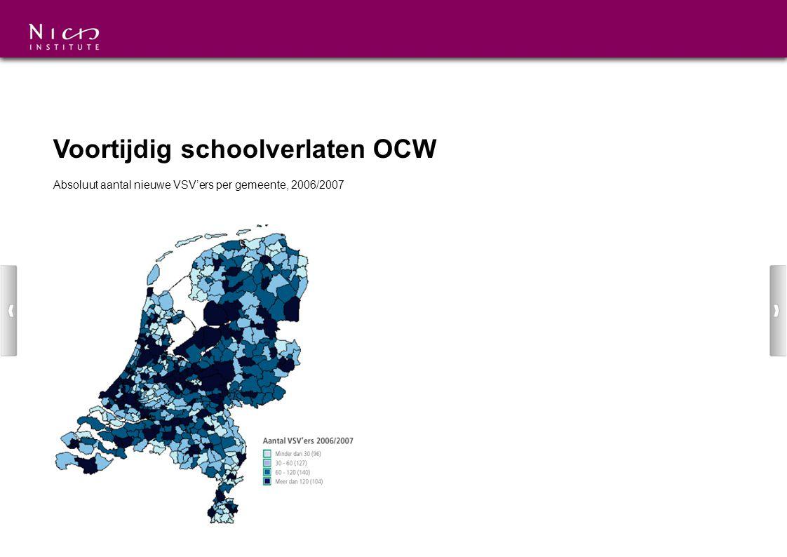 Voortijdig schoolverlaten OCW Absoluut aantal nieuwe VSV'ers per gemeente, 2006/2007