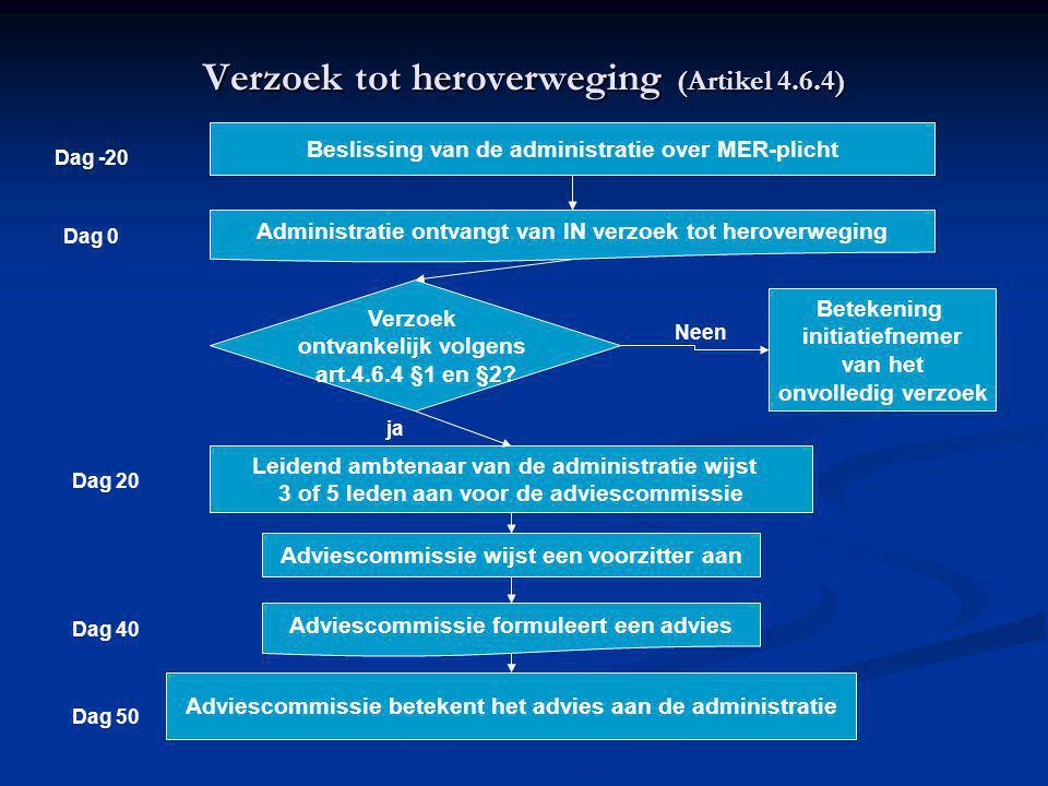 Verzoek tot heroverweging (Artikel 4.6.4) Beslissing van de administratie over MER-plicht Administratie ontvangt van IN verzoek tot heroverweging Verzoek ontvankelijk volgens art.4.6.4 §1 en §2.