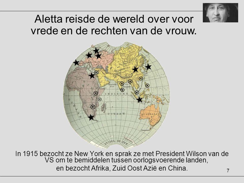 7 In 1915 bezocht ze New York en sprak ze met President Wilson van de VS om te bemiddelen tussen oorlogsvoerende landen, en bezocht Afrika, Zuid Oost