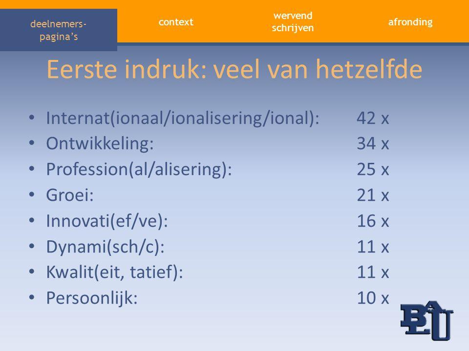 context afronding wervend schrijven deelnemers- pagina's Eerste indruk: veel van hetzelfde • Internat(ionaal/ionalisering/ional):42 x • Ontwikkeling:3