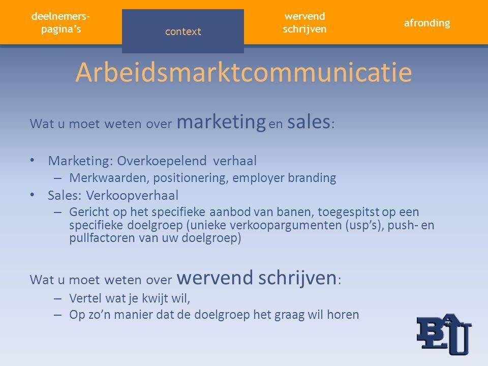 deelnemers- pagina's aandacht trekken afronding wervend schrijven context Arbeidsmarktcommunicatie Wat u moet weten over marketing en sales : • Market