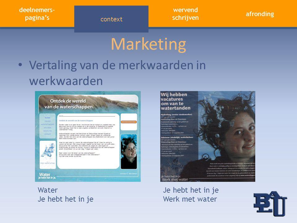 deelnemers- pagina's aandacht trekken afronding wervend schrijven context Marketing Water Je hebt het in je Werk met water • Vertaling van de merkwaar