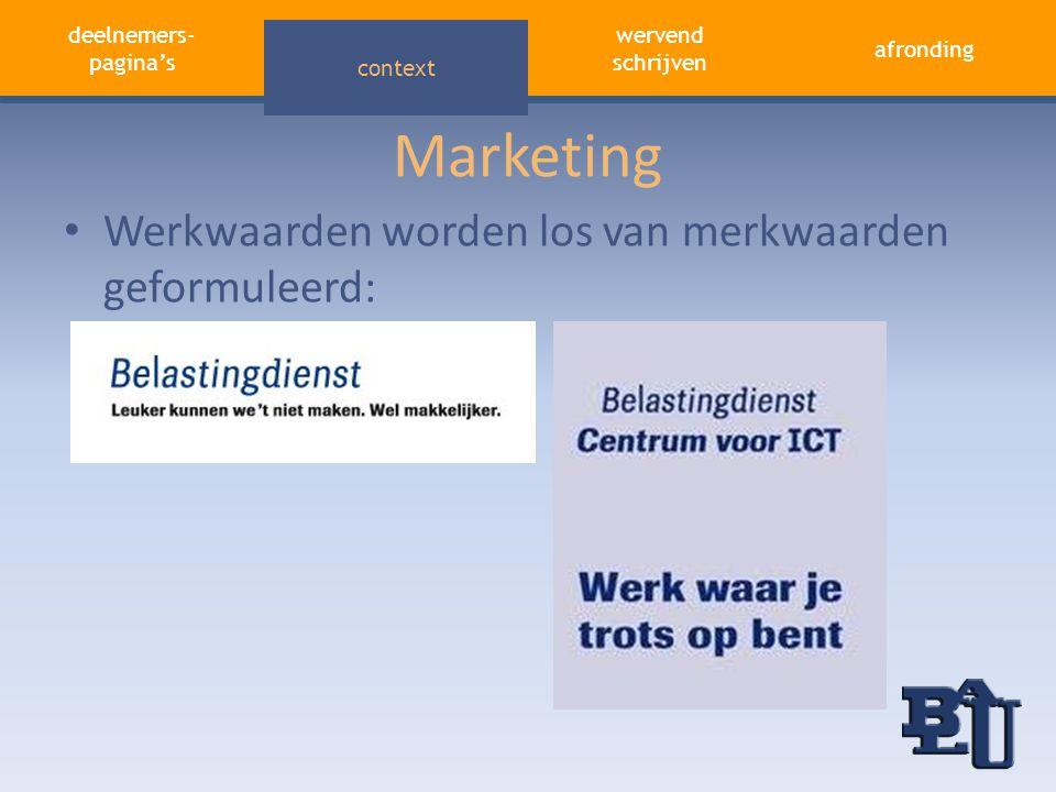 deelnemers- pagina's aandacht trekken afronding wervend schrijven context Marketing • Werkwaarden worden los van merkwaarden geformuleerd: