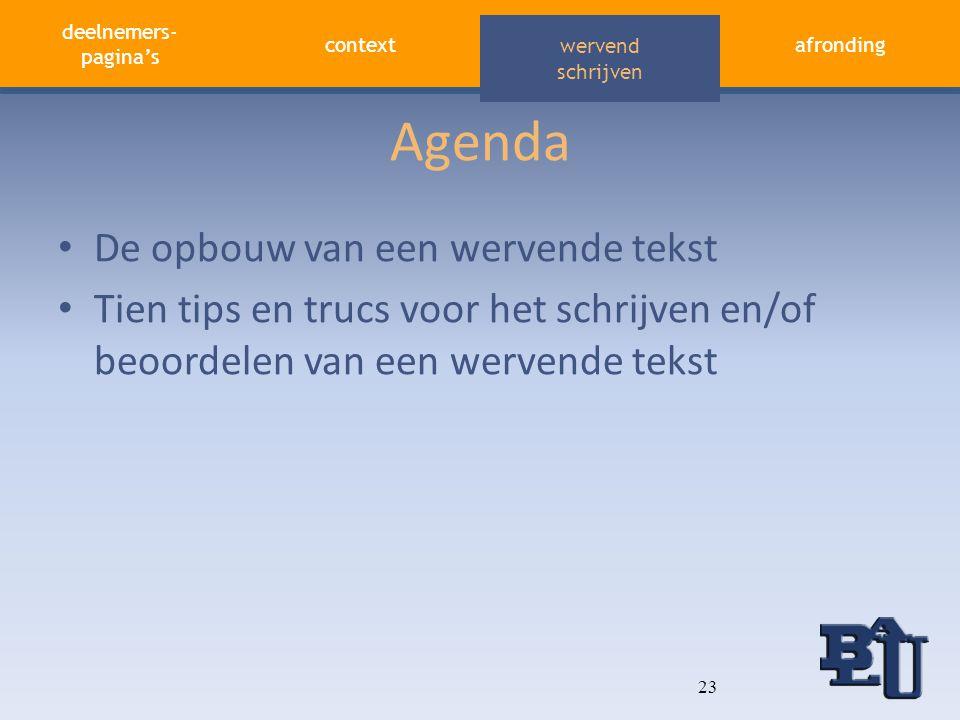 deelnemers- pagina's contextafronding aandacht vasthouden wervend schrijven Agenda • De opbouw van een wervende tekst • Tien tips en trucs voor het sc