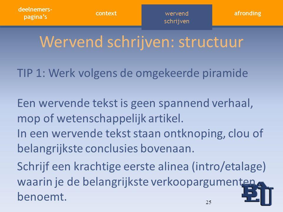 deelnemers- pagina's contextafronding aandacht vasthouden wervend schrijven Wervend schrijven: structuur TIP 1: Werk volgens de omgekeerde piramide Ee