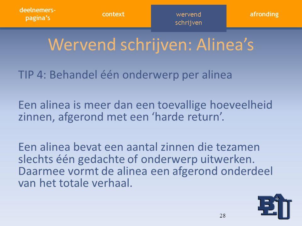 deelnemers- pagina's contextafronding aandacht vasthouden wervend schrijven Wervend schrijven: Alinea's TIP 4: Behandel één onderwerp per alinea Een a