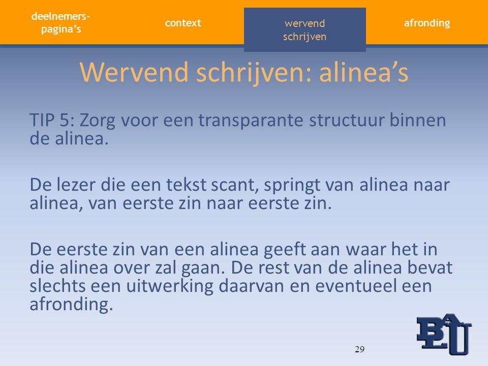 deelnemers- pagina's contextafronding aandacht vasthouden wervend schrijven Wervend schrijven: alinea's TIP 5: Zorg voor een transparante structuur bi