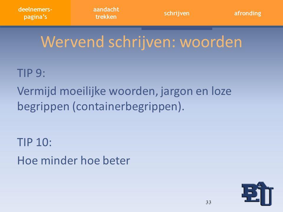 deelnemers- pagina's contextafronding aandacht vasthouden wervend schrijven Wervend schrijven: woorden TIP 9: Vermijd moeilijke woorden, jargon en loz