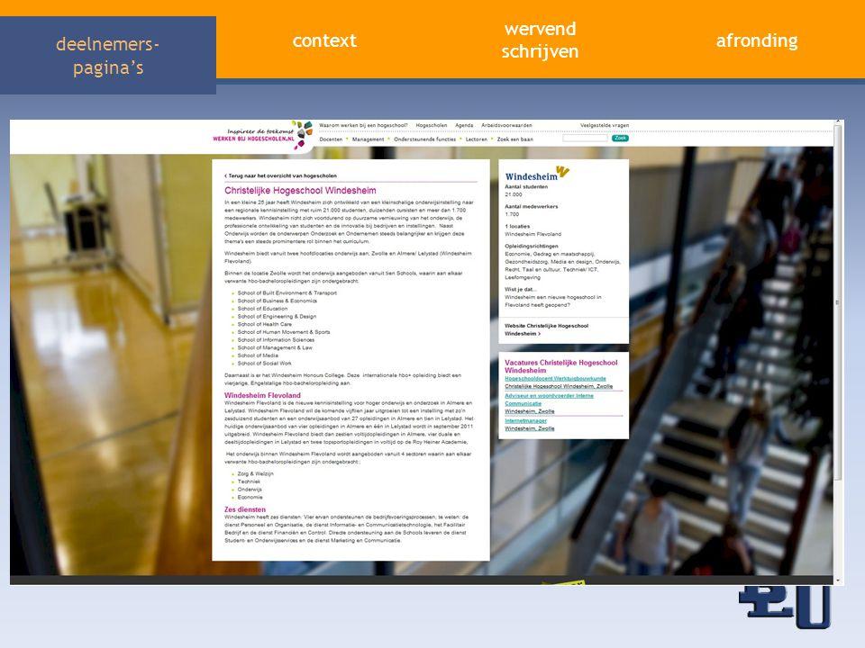 deelnemers- pagina's aandacht trekken afronding wervend schrijven context Marketing Water Je hebt het in je Werk met water • Vertaling van de merkwaarden in werkwaarden