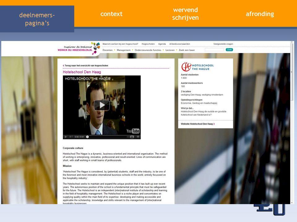 context afronding wervend schrijven deelnemers- pagina's Eerste indruk: veel verschillen • Lange tekst vs.