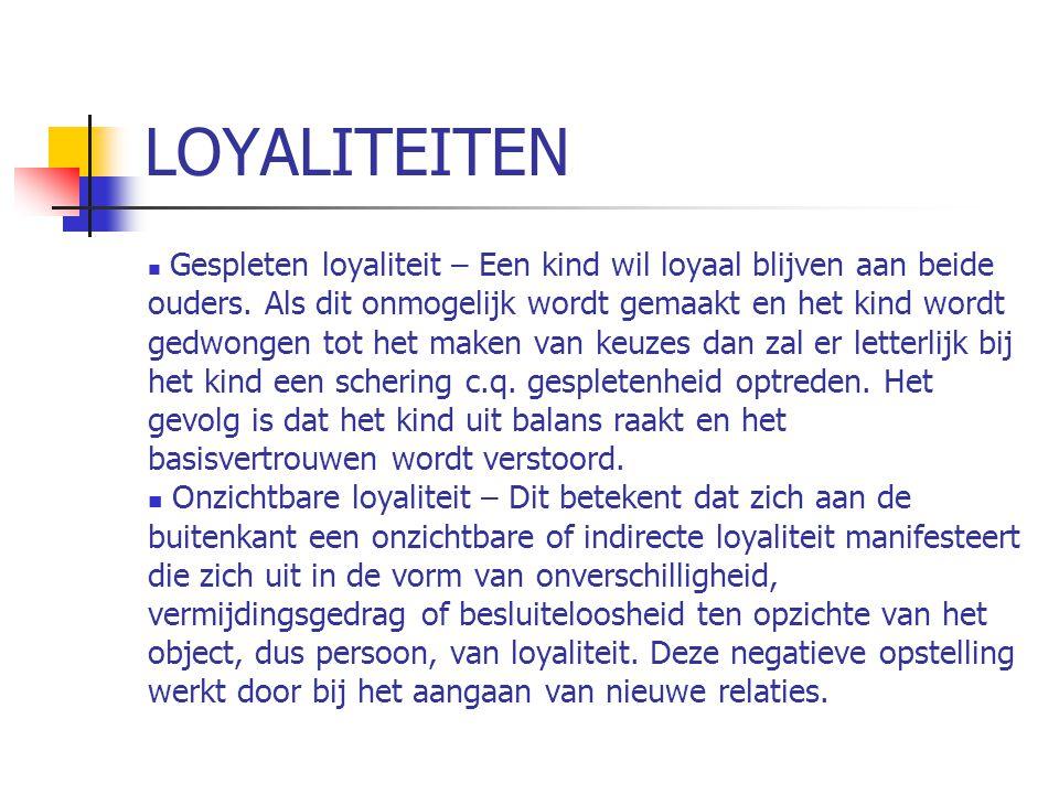 LOYALITEITEN  Gespleten loyaliteit – Een kind wil loyaal blijven aan beide ouders.