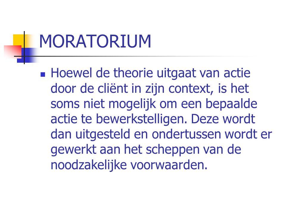 MORATORIUM  Hoewel de theorie uitgaat van actie door de cliënt in zijn context, is het soms niet mogelijk om een bepaalde actie te bewerkstelligen.