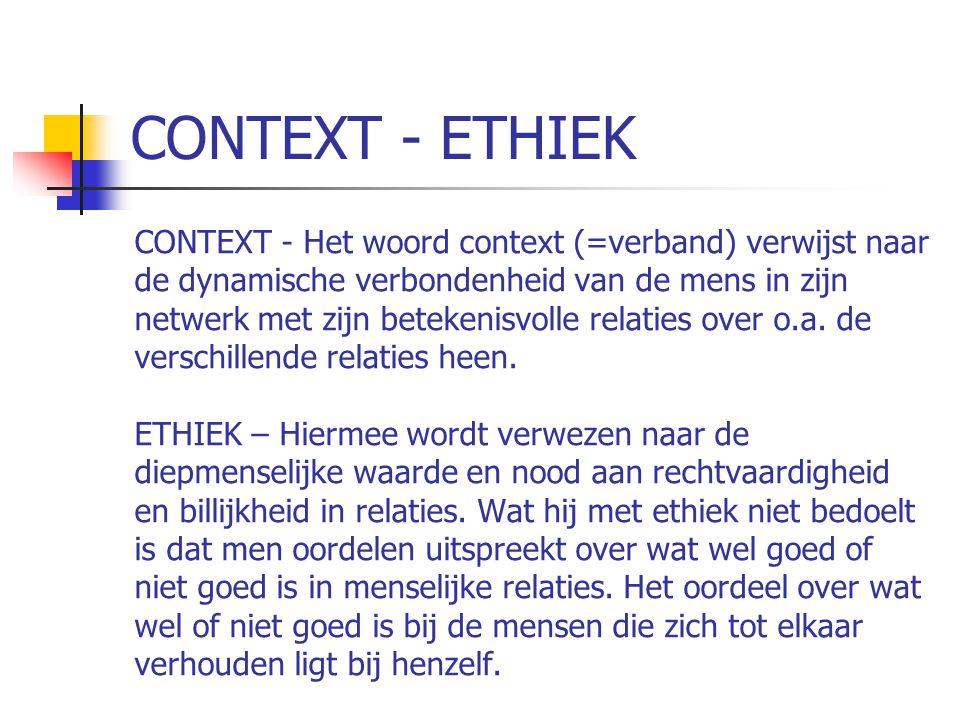 CONTEXT - ETHIEK CONTEXT - Het woord context (=verband) verwijst naar de dynamische verbondenheid van de mens in zijn netwerk met zijn betekenisvolle relaties over o.a.