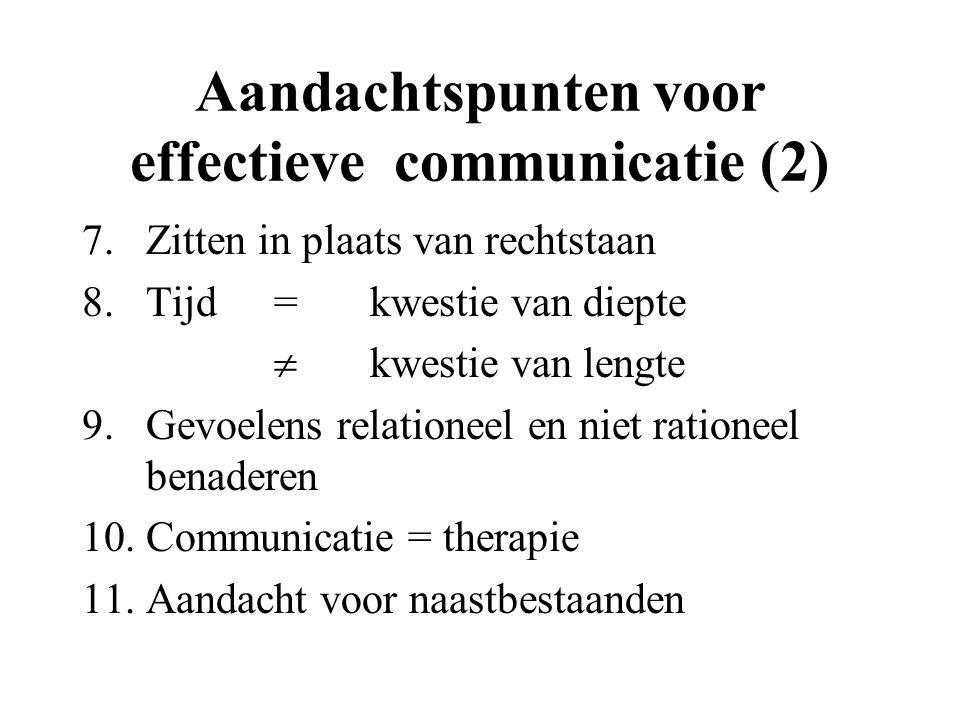 Aandachtspunten voor effectieve communicatie (2) 7.Zitten in plaats van rechtstaan 8.Tijd=kwestie van diepte  kwestie van lengte 9.Gevoelens relation