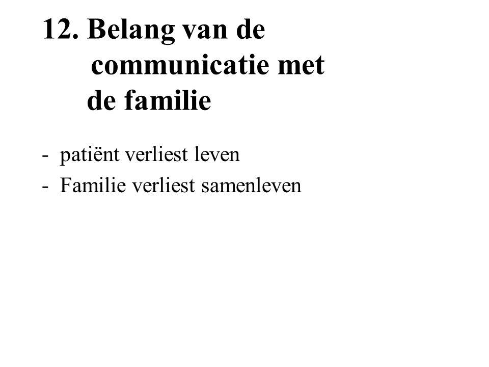 12.Belang van de communicatie met de familie -patiënt verliest leven -Familie verliest samenleven
