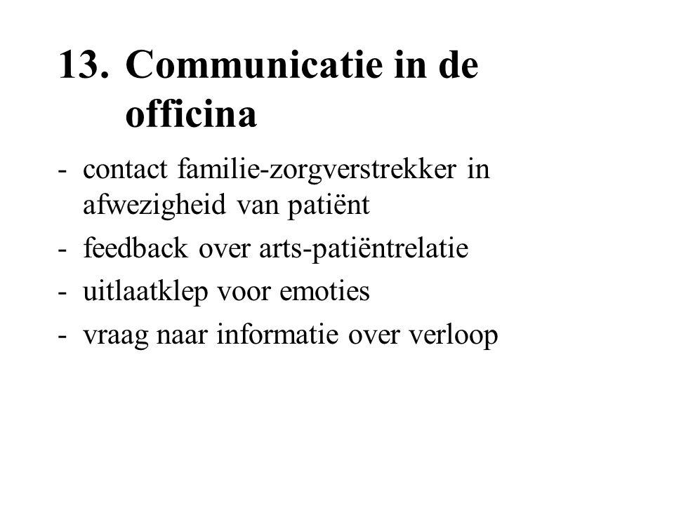 13.Communicatie in de officina -contact familie-zorgverstrekker in afwezigheid van patiënt -feedback over arts-patiëntrelatie -uitlaatklep voor emotie