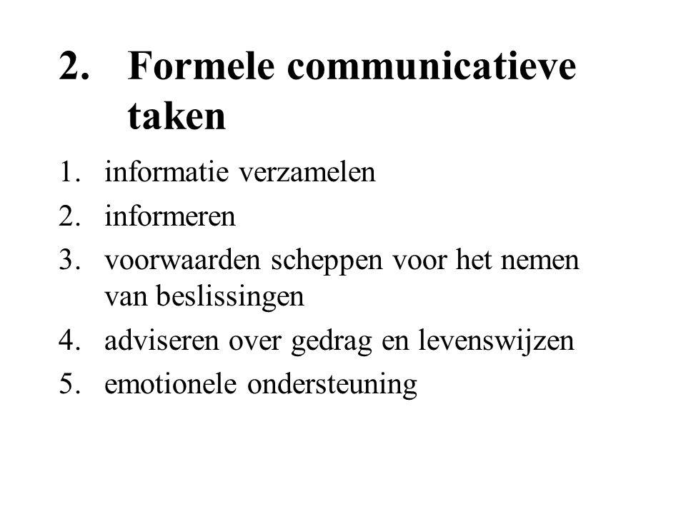 2. Formele communicatieve taken 1.informatie verzamelen 2.informeren 3.voorwaarden scheppen voor het nemen van beslissingen 4.adviseren over gedrag en