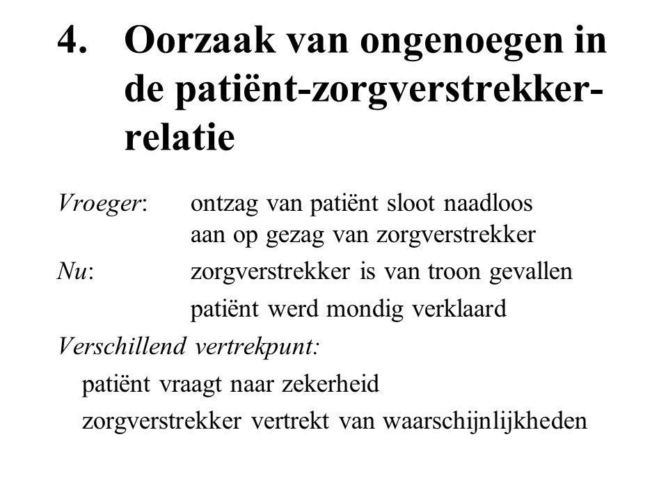 4.Oorzaak van ongenoegen in de patiënt-zorgverstrekker- relatie Vroeger:ontzag van patiënt sloot naadloos aan op gezag van zorgverstrekker Nu: zorgver