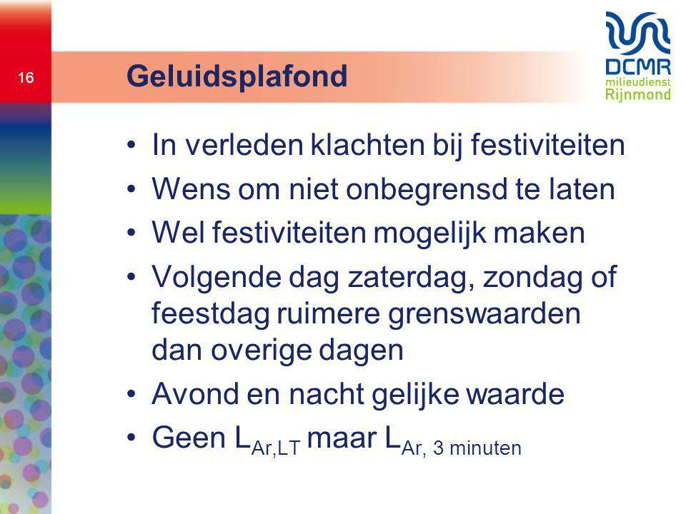 16 Geluidsplafond •In verleden klachten bij festiviteiten •Wens om niet onbegrensd te laten •Wel festiviteiten mogelijk maken •Volgende dag zaterdag,