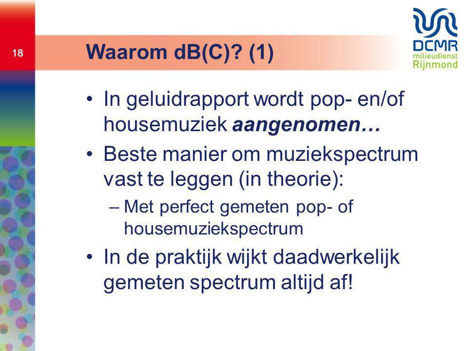 18 Waarom dB(C)? (1) •In geluidrapport wordt pop- en/of housemuziek aangenomen… •Beste manier om muziekspectrum vast te leggen (in theorie): –Met perf
