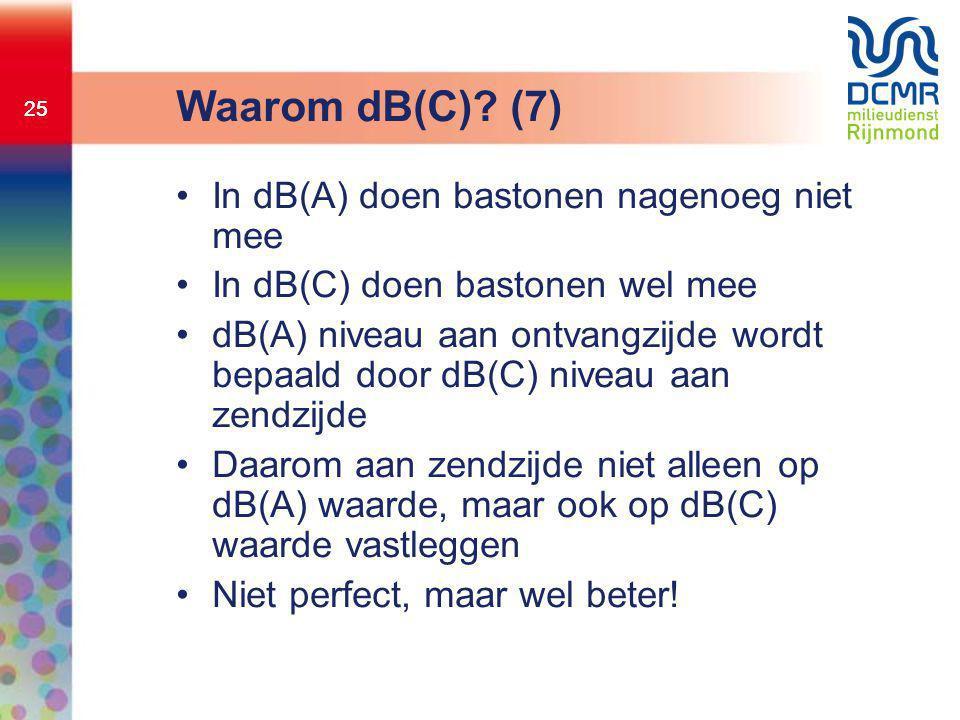 25 Waarom dB(C)? (7) •In dB(A) doen bastonen nagenoeg niet mee •In dB(C) doen bastonen wel mee •dB(A) niveau aan ontvangzijde wordt bepaald door dB(C)