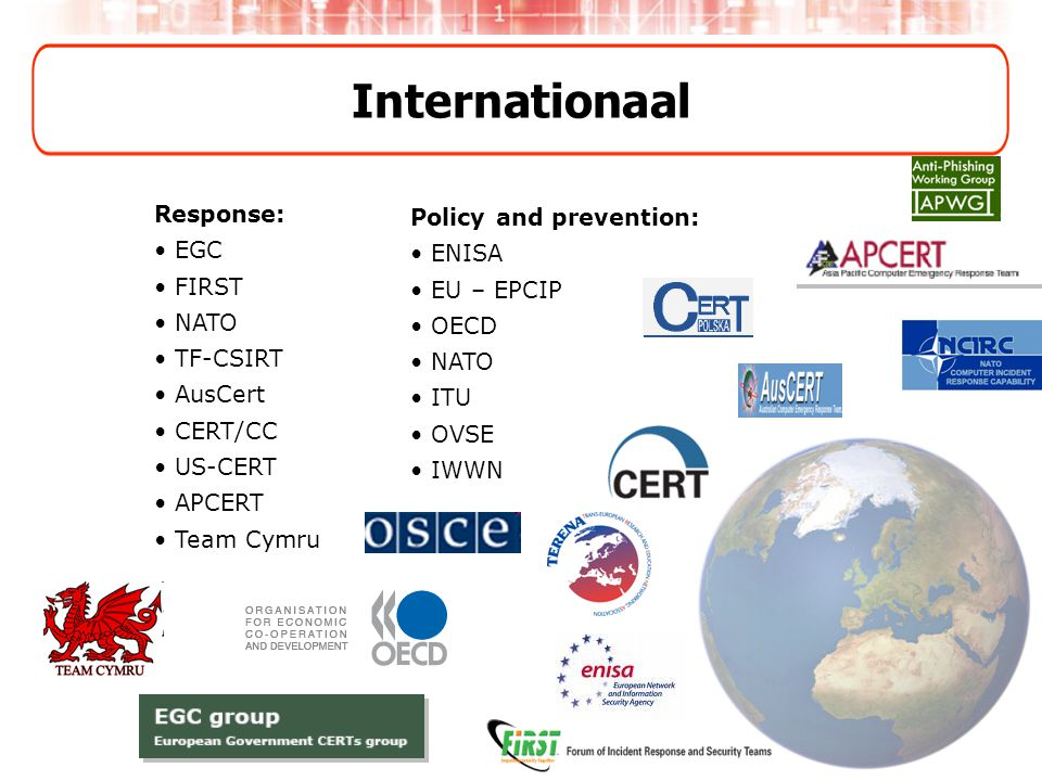 Internationaal Response: •EGC •FIRST •NATO •TF-CSIRT •AusCert •CERT/CC •US-CERT •APCERT •Team Cymru Policy and prevention: •ENISA •EU – EPCIP •OECD •N