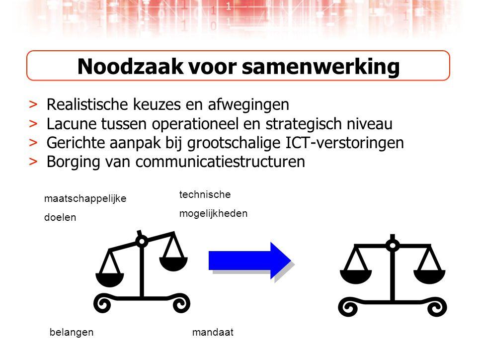 Noodzaak voor samenwerking > Realistische keuzes en afwegingen > Lacune tussen operationeel en strategisch niveau > Gerichte aanpak bij grootschalige ICT-verstoringen > Borging van communicatiestructuren maatschappelijke doelen technische mogelijkheden belangenmandaat